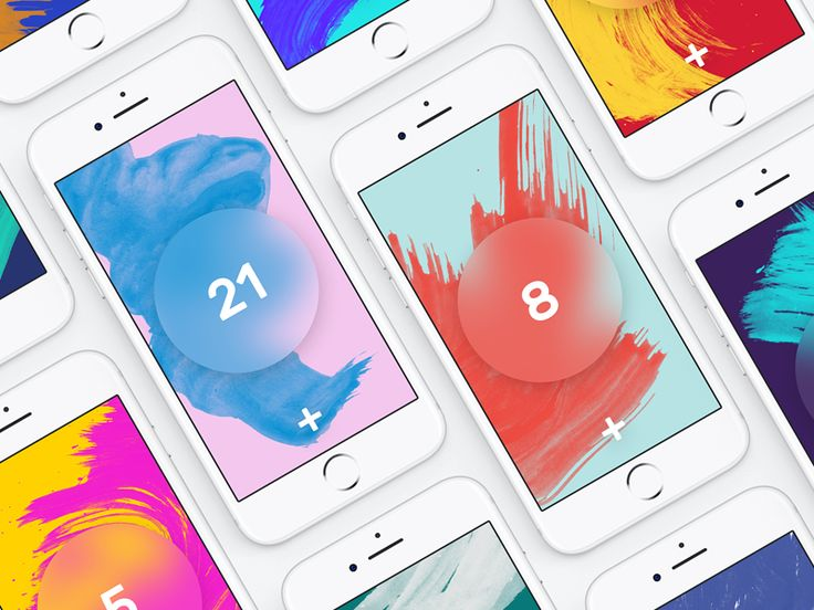 All color combinations for Contact Lens Tracker app.  Screen backgrounds randomly generated from color palette and brush strokes presets. Color palette was inspired by the awesome Color Claim proje...