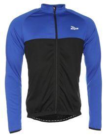 Koszulka długi rękaw Rogelli Caluso czarno-niebieska. Męska koszulka rowerowa z długim rękawem na chłodne dni. Rozpinany model z mocnym zamkiem podszytym na całe długości materiałem z osłonką pod szyją. Szeroka, trzykomorowa kieszeń z dodatkową kieszonką na zamek. #koszulkarowerowa #odziezrowerowa