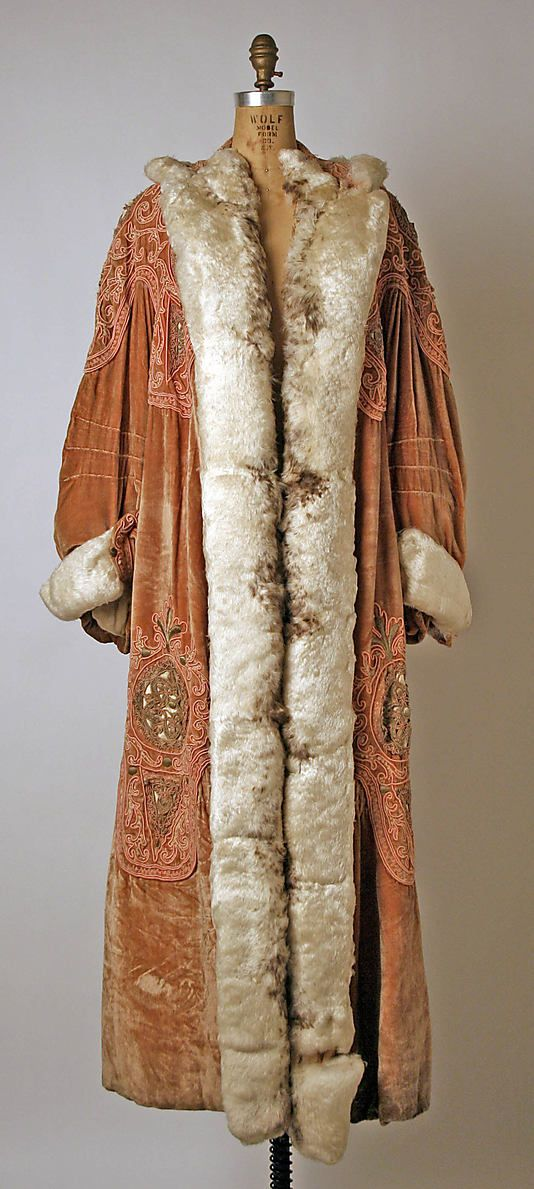 Coat, Opera.  Callot Soeurs  (French, active 1895–1937).  Date: ca. 1907. Culture: French. Medium: silk, metal, feathers. Dimensions: Length at CB: 59 1/2 in. (151.1 cm).