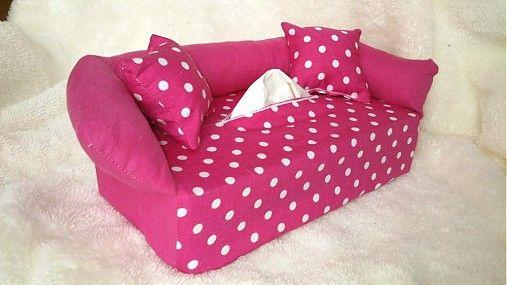 Wesega / Ružový s bodkami-dekoračný obal na papierové vreckovky
