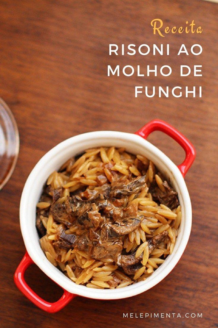 Risoni ao molho de funghi - Veja a receita dessa deliciosa massa preparada com molho de funghi saboroso. A receita é perfeita para servir com um bom vinho.