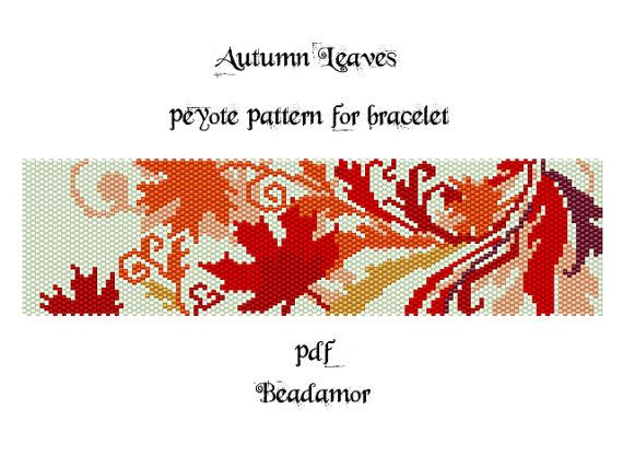 Peyote Pattern for bracelet: Autumn Leaves INSTANT by Beadamor