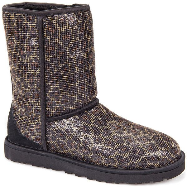 UGG® Classic Short Glitter Boot Leopard Fabric ($85) ❤ liked on Polyvore featuring shoes, boots, ankle booties, ankle boots, leopard fabric, leopard ankle boots, ugg booties, leopard print ankle boots and short booties