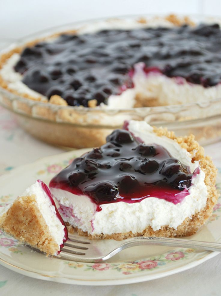 No Bake Blueberry Cheesecake Pie  @themerrythought