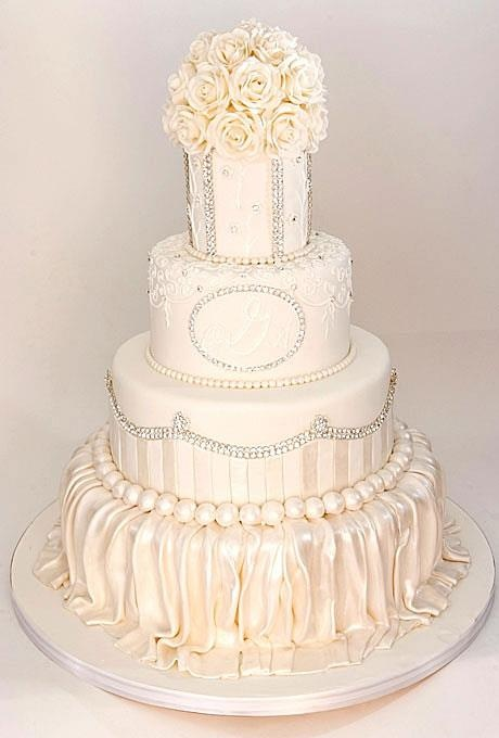 How To Fondant Pleats On Bottom Tier Of Wedding Cake