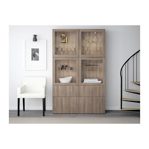 BESTÅ Storage Combination W/glass Doors   Lappviken/Sindvik Gray Stained  Walnut Eff Clear