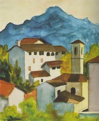 Hermann Hesse - Dorf mit Campanile, 1927 (watercolor)