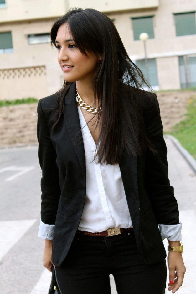 Women 39 s black blazer white button down blouse black for White shirt brown buttons