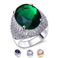 Dc1989 сапфир овал большой яйцо формы камень обручальные кольца платины покрытием белый AAA CZ кристалл палец кольцо для женщин