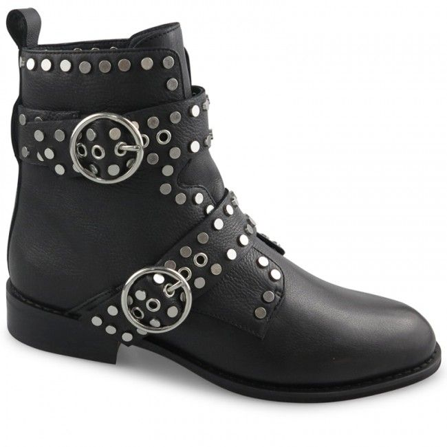 Crafted from bold black leather and embellished with high shine silver hardware, these effortlessly edgey ankle boots are a definite style standout this season. With buckle and strapping detail and single layer inbuilt cushioning designed to provide comfo