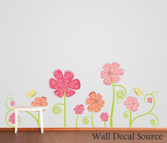 Flower Wall Decal  Floral Wall Decor  by WallDecalSource on Etsy, $45.00