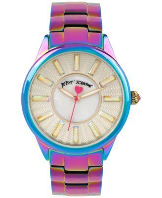Betsey Johnson Women's Iridescent Stainless Steel Bracelet Watch 40mm BJ00433-04