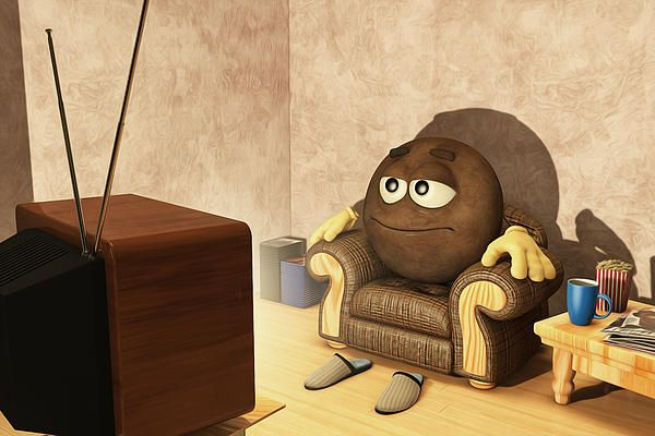 The Couch Potato Digital Art for the home, home decor, interior design. The Couch Potato Fine Art Prints, Canvas Prints, Framed Art Prints, Greeting Cards and Posters for Sale Vegetable, Funny, Humor, Humour, Retro TV, television,