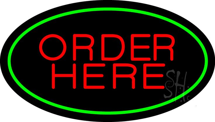Order Here Oval Green Neon Sign 17 Tall x 30 Wide x 3 Deep, is 100% Handcrafted with Real Glass Tube Neon Sign. !!! Made in USA !!!  Colors on the sign are Green and Red. Order Here Oval Green Neon Sign is high impact, eye catching, real glass tube neon sign. This characteristic glow can attract customers like nothing else, virtually burning your identity into the minds of potential and future customers.