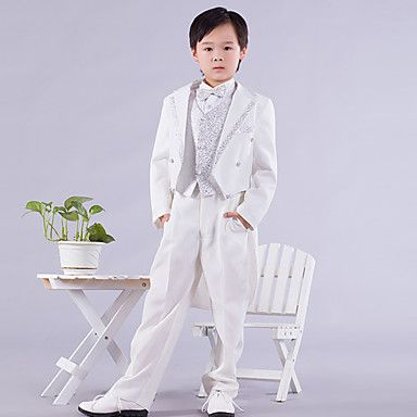 Page Boy Outfits Six Pieces White And Silver Swallow-tail Ring Bearer Suit (1145551) - USD $ 38.39