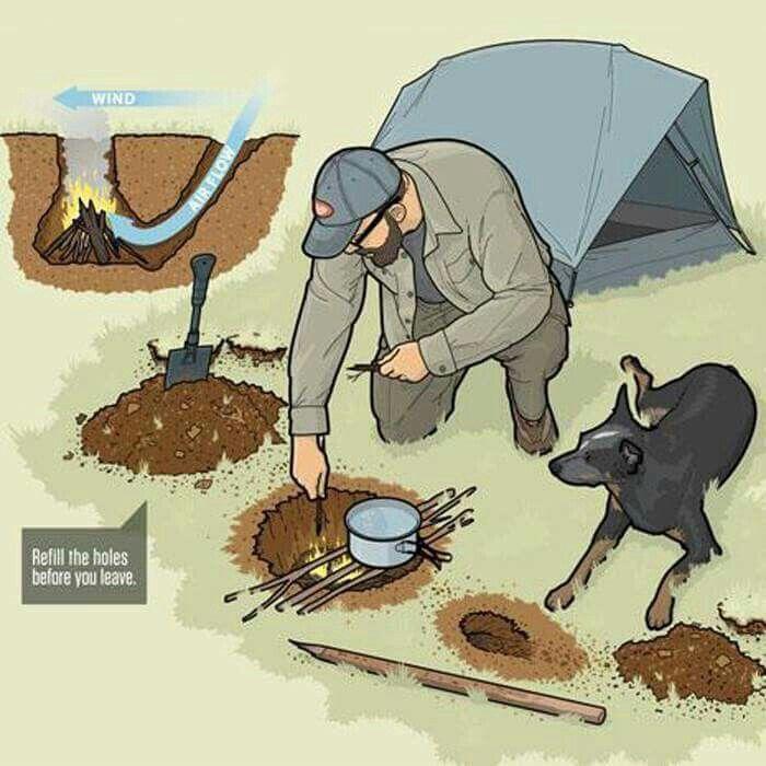 Uma maneira de fazer uma fogareiro de emergência com mínimo impacto e muita eficiência #acampamento #camping #outdoor