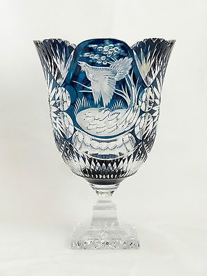 Large Bohemian Czech Teal Blue Cut to Clear Crystal Glass Vase/Bowl With Birds And Starburst Pattern, With Scalloped Rim And Square Base | eBay