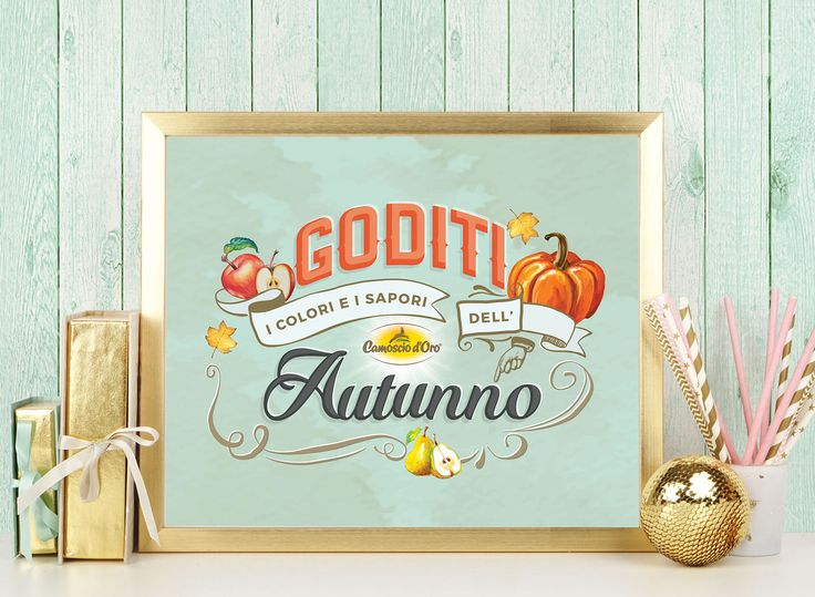 Behance :: Editing Autumn lettering  This lettering piece was done for my client Camoscio d'Oro (delicius cheese). Once the lettering was done and aproved I'd tried it in different settings and enviroments, always related with food topic.