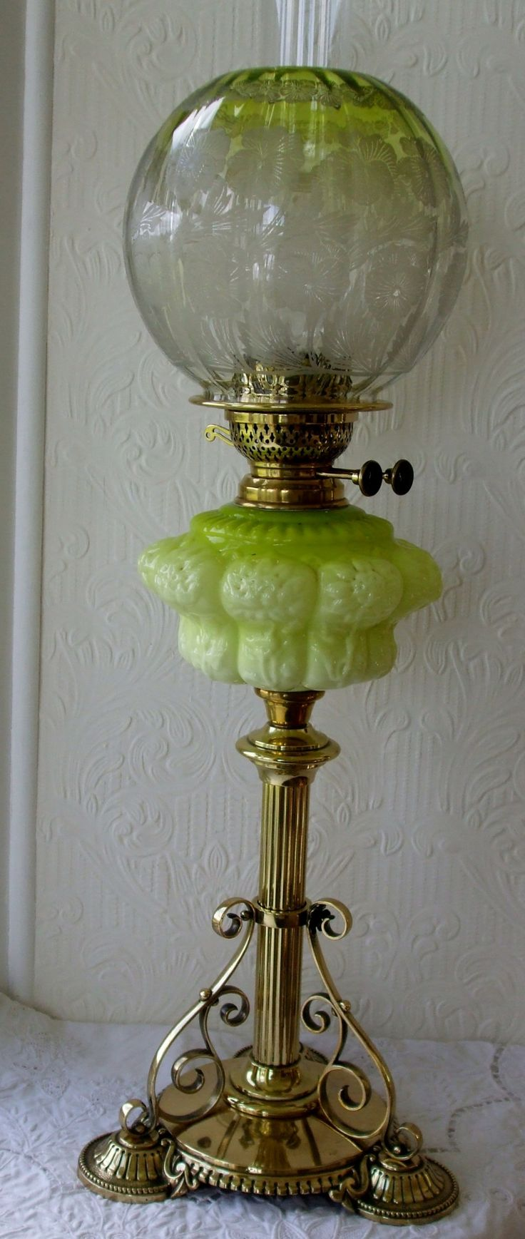 Victorian night lamps - Antique English Victorian Oil Lamp