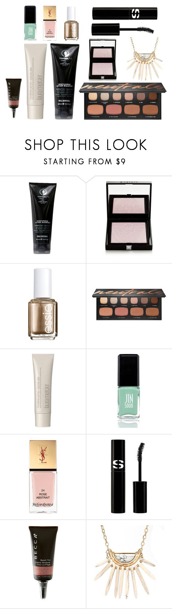 """april beauty favorites"" by curatedfarm ❤ liked on Polyvore featuring beauty, Paul Mitchell, Givenchy, Essie, Bare Escentuals, Laura Mercier, JINsoon, Yves Saint Laurent, Sisley and Becca"