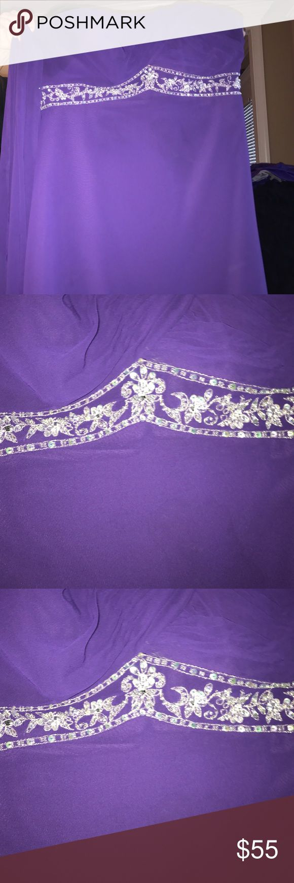 Purple Plus Size Dress Purple plus size dress worn once for a wedding. It is the same as the purple dress I have listed but for plus size. It comes with a sheer piece for your shoulders and straps that can be added. Mori Lee Dresses Prom