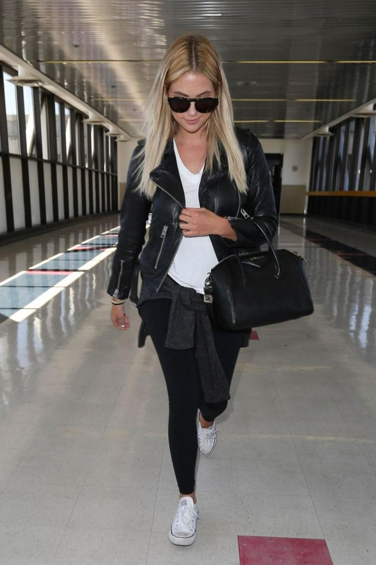 Ashley Benson wearing Converse Chuck Taylor All Star Low in Optical White and Givenchy Small Antigona Bag