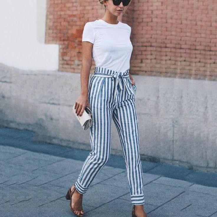 Striped Slim Strap Belt Long Skinny Casual Pants