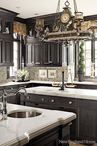 Great cabinet color in KitchenPots Racks, Kitchens Design, Dreams Kitchens, Lights Fixtures, Countertops, Dark Cabinets, Black Cabinets, Black Kitchens, House