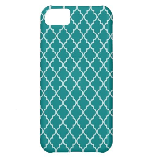 Teal Green And White Moroccan Trellis Pattern
