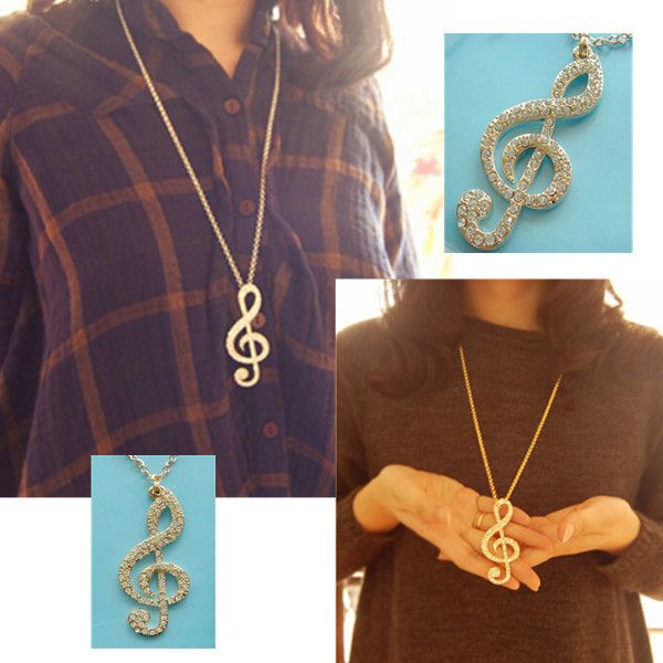 Gold Music Note Crystal Sweater Necklace