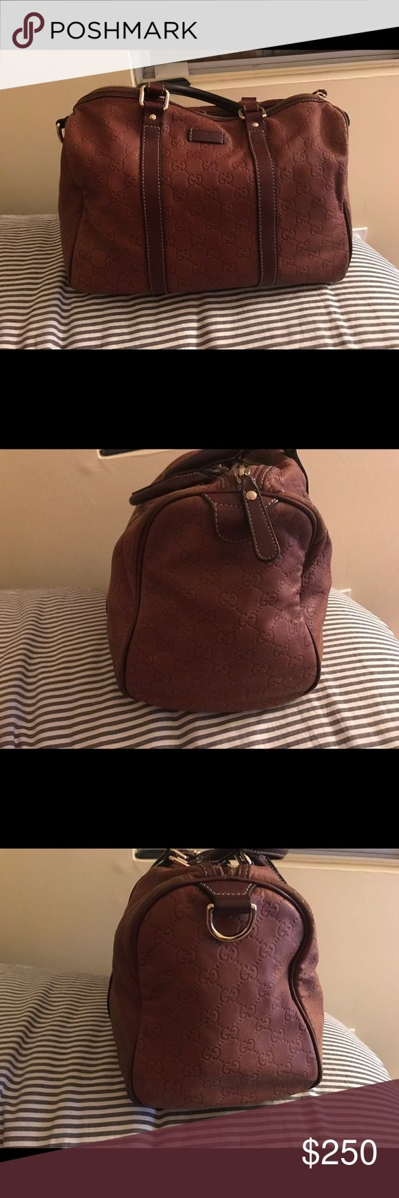 Gucci Boston Bag Pre-owned Gucci Boston Handbag. Butter soft tobacco leather. This item does have some wear, However, it's still in great condition. I am selling this bag for a low low price of $250. This bag can easily be restored if taken to the correct leather specialist or sent back to Gucci. The bag comes with a dust bag. I bought this bag years ago, unfortunately I do not have a receipt. Please let me know if I have any questions. Gucci Bags