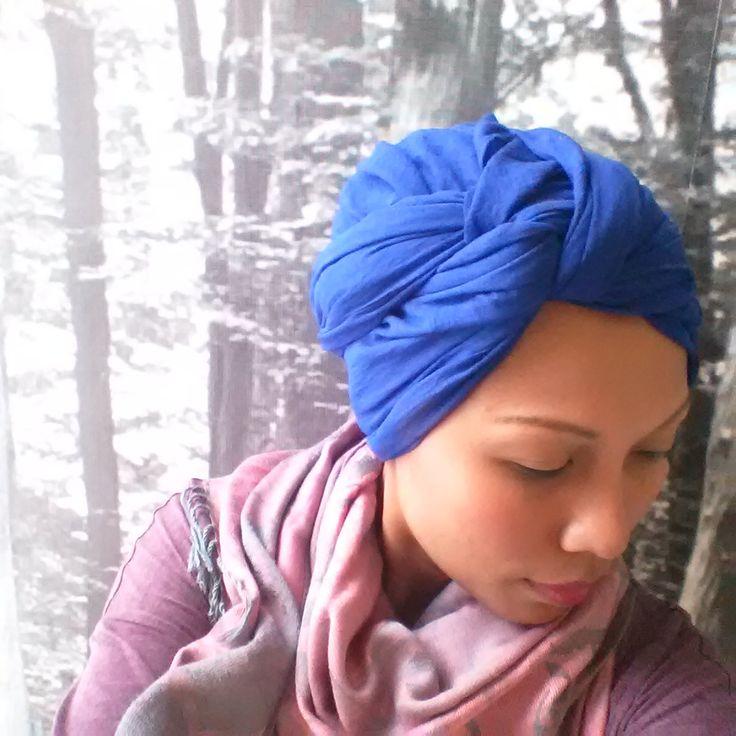 Atomic blue turban twist!