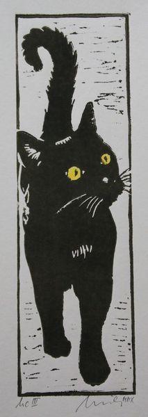 Katze, Druckgraphik, Hochdruck, Linolschnitt, Schwarz, Druckgrafik