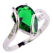 2016 femmes bijoux goutte d'eau charme élégant vert émeraude Quartz mode blanc topaze Gems argent plaqué anneau taille 7 8 pour dame(China (Mainland))