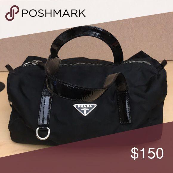 Prada bag Small nylon Prada satchel bag with patent straps. Washable fabric Prada Bags Satchels