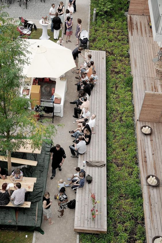 Seamlessly integrate green space or green infrastructure like this for people to…