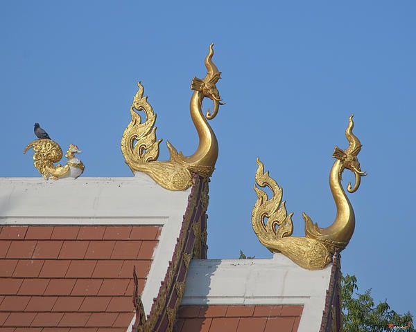 2013 Photograph, Wat Sri Soda Chofah, Tambon Suthep, Mueang Chiang Mai District, Chiang Mai Province, Thailand, © 2013.  ภาพถ่าย ๒๕๕๖ วัดศรีดสดา ช่อฟ้า ตำบลสุเทพ เมืองเชียงใหม่ จังหวัดเชียงใหม่ ประเทศไทย  Chofah are common elements of the roof design of Thai temple buildings. It is not often that you will see a elephant-faced bird as in these