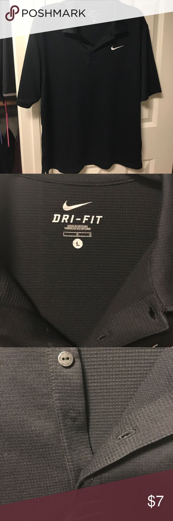 Men's Nike Dri-fit golf polo shirt size Large Good condition. Missing one button as pictured. Men's Nike Dri-Fit Golf polo shirt. Black, with white nike logo. Short sleeves. Size large Nike Shirts Polos