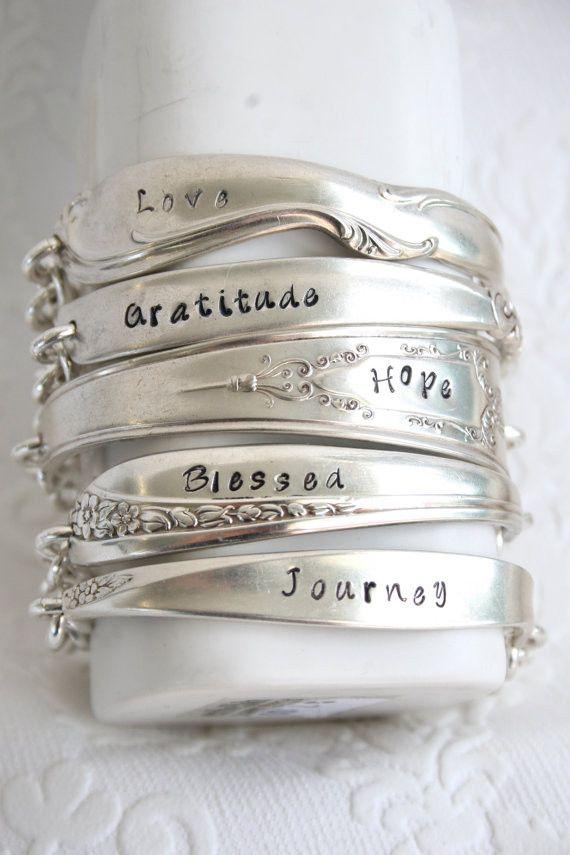 """Gratitude"" Spoon Handle Bracelet Handcrafted from Vintage Silverware"