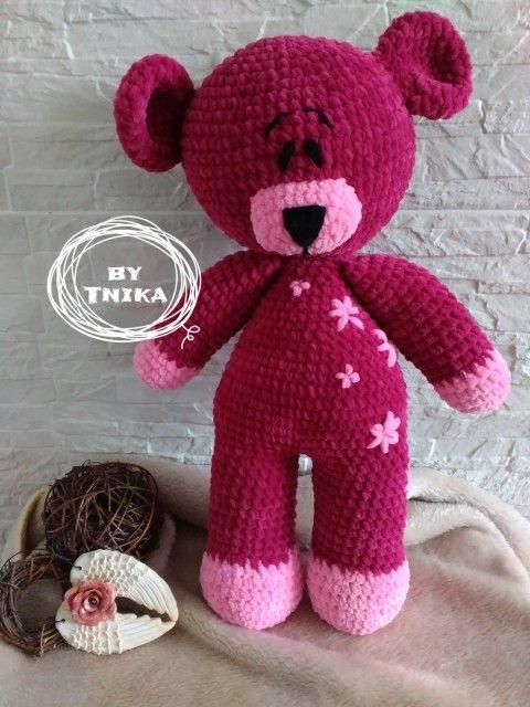 Big bear, crochet bear, Pink bear...  Medvídek PEGGY medvídek medvěd mazlík do postýlky háčkovaný medvěd na mazlení bezpečná hračka velký medvěd