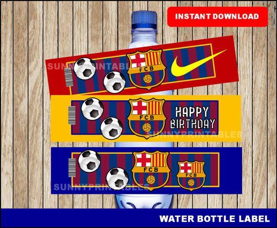 Etiquetas de botella de agua de Barcelona FC; descargar imprimible agua FC Barcelona, fútbol partido instantáneo la botella de agua por Sunnyprintables