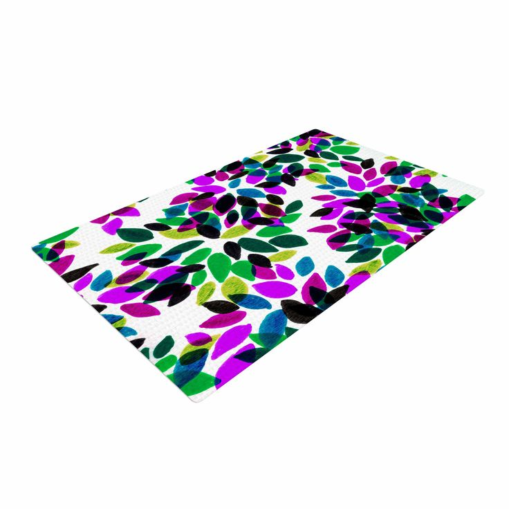 "Ebi Emporium ""Dahlia Dots 2"" Purple Green Woven Area Rug"