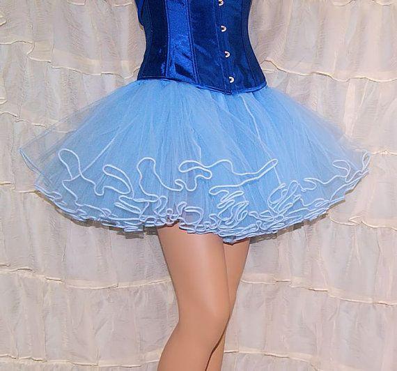 Pastel Ice Blue Piped Costume TuTu Crinoline Skirt by mtcoffinz