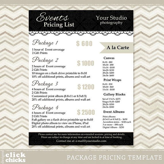 Pricing: Photography Package Pricing List Template By