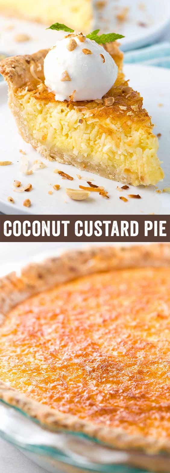 Coconut custard pie recipe with a flaky crust and egg custard filling. This tropical dessert is best served warm with a scoop of vanilla bean ice cream. via @foodiegavin