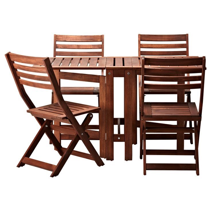 ÄPPLARÖ Table and 4 chairs - IKEA. Something simple that can be put away- need 2-3 sets if this is it.  Do not love the table, but the chairs are probably fine. I do love that it is a gate leg & can go in the shed  easily.