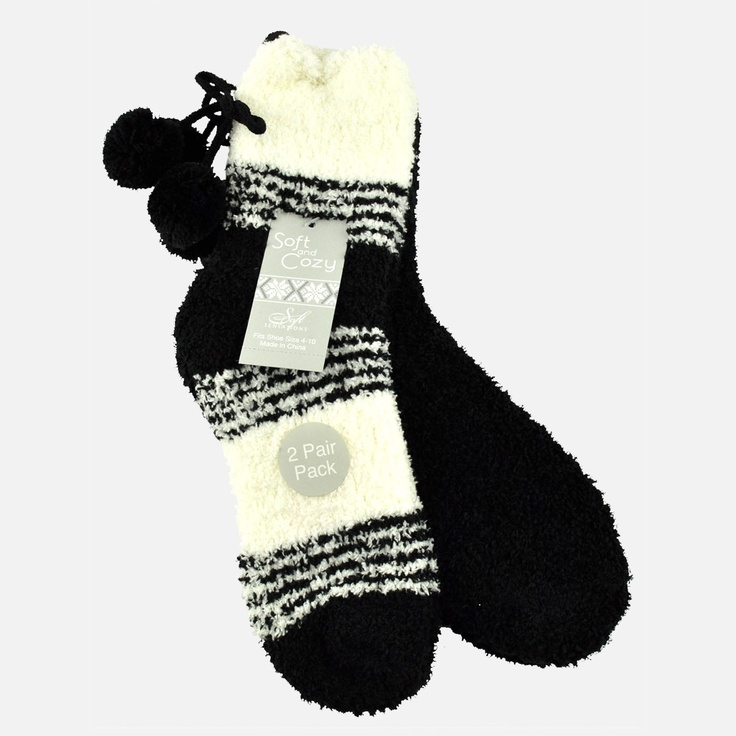 Casual Socks | Soft Sensations Womens 2 Pack Stripe Pom Cozy Socks | Shopko.com