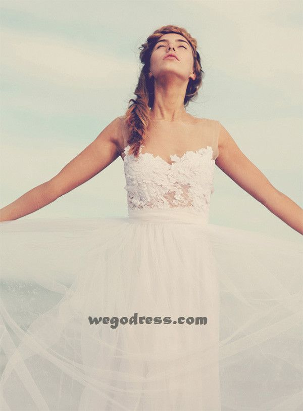 beach wedding dress  Beautiful Lace Top Dress, I love that it's almost nude but still soft and innocently pretty.