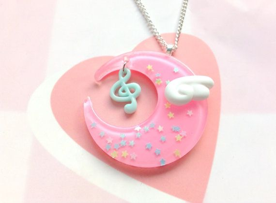 Pastel Pink Fairy Kei Moon Necklace Kawaii Angel Wing by CreaBia