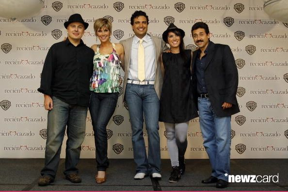 (L-R) Rene Bueno, Gabriela Vergara, Jaime Camil, Pambo and Dino Garcia pose for a portrait during the Recien Cazado photocall at the Four Seasons Hotel on August 20 in Mexico City, Mexico. (Photo by Hector Vivas/Jam Media/LatinContent/Getty Images)